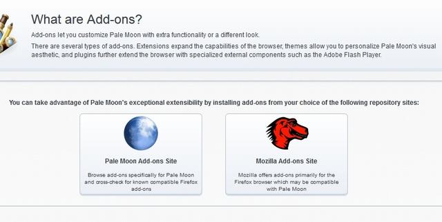 Pale Moonのアドオン導入時の二択画面