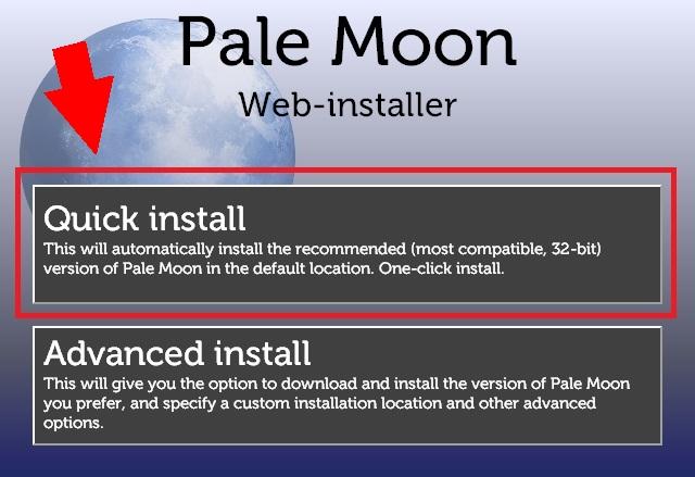 「Pale Moon」インストーラーで二択